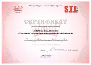 Сертификат Гализдровой Е.А.